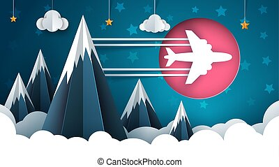 Airplane illustration. Cartoon cloud, star, mountain landscape.