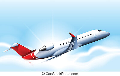 Airplane - Illustration of a close up airplane flying