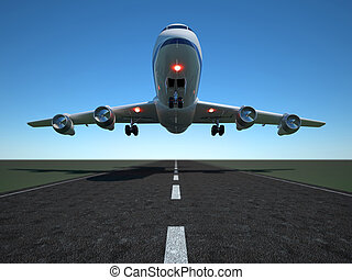Airplane - Illustration of airplane taking off - 3d render