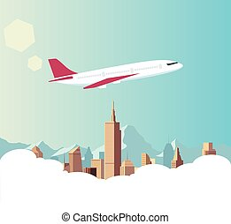 Airplane illustrator with city background