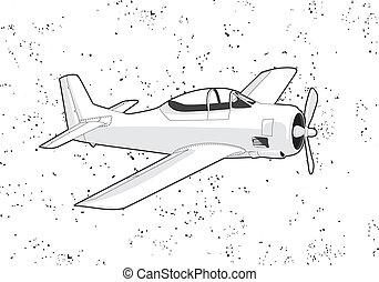 Airplane - black outline vector airplane on white background
