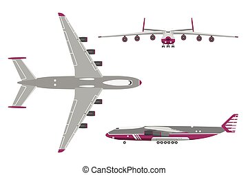 Airplane in a flat style on white background