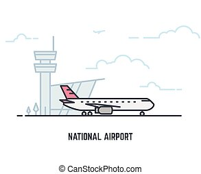 Airplane in airport - National airport line illustration....