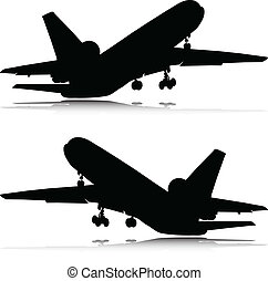 airplane in black vector silhouettes