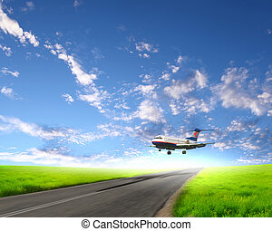 Airplane in blue cloudy sky