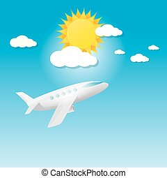 airplane in blue sky with sun and clouds.