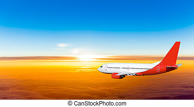 airplane, in, den, sky, hos, sunset., a, trafikant hyvla,...