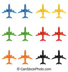 airplane in different color vector illustration