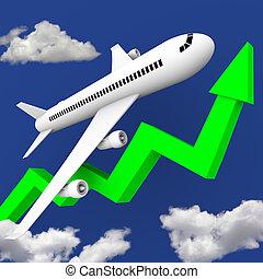 Airplane in Flight Along Green Arrow