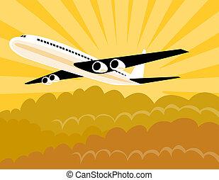 Airplane in flight - Artwork on air travel