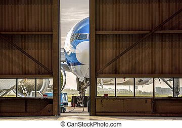 Airplane in front of half opened door to hangar - Blue...