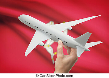 Airplane in hand with flag on background - Isle of Man