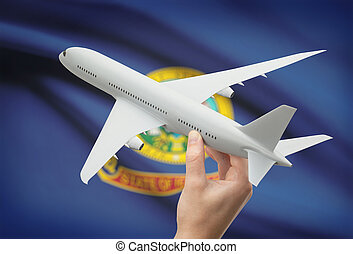 Airplane in hand with US state flag on background - Idaho -...