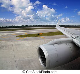 airplane in landing runway road plane wing