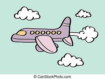 Airplane in Sky Cartoon Vector Illustration