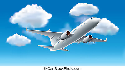 Airplane in sky vector illustration - Airplane in blue sky...