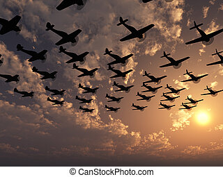 airplane in sunset - Planes. A squadron of military planes...
