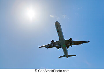 Airplane in the bright sky