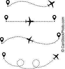 Airplane In The Dotted Line, Vector Illustration