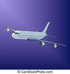 Airplane in the night sky, vector illustration
