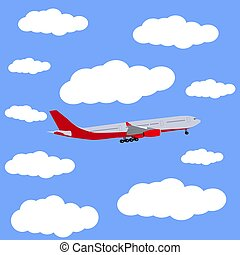 Airplane in the sky icon, vector