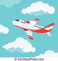 Airplane in the sky vector flat design illustration.