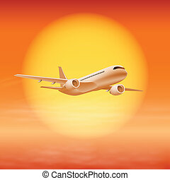 Airplane in the sky with sun in sunset time.
