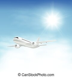 Airplane in the sky with sun