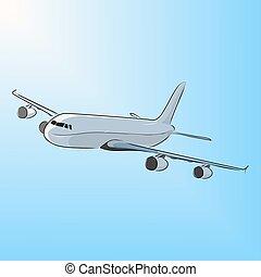Airplane in the sun, vector illustration