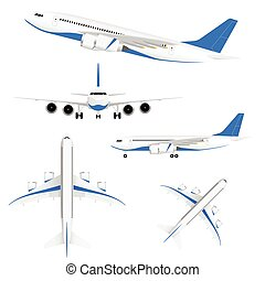 airplane in white and blue color set illustration
