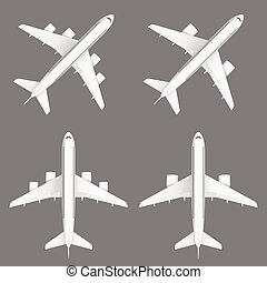 airplane in white color set illustration