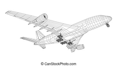 Airplane in wire-frame style