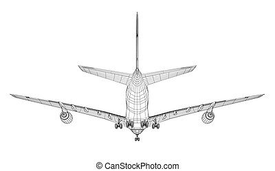 Airplane in wire-frame style. Rear view. EPS 10 vector format. Vector rendering of 3d