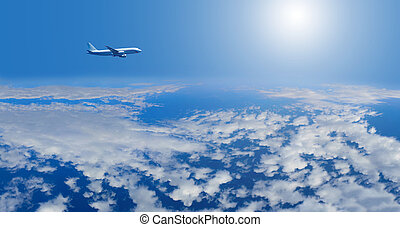 airplane inflight in the sky
