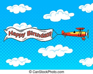 Airplane inscription across sky pop art vector