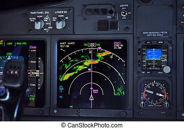 Airplane instrument panel - Commercial airliner approaches...
