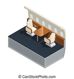 Airplane Interior Isometric Composition