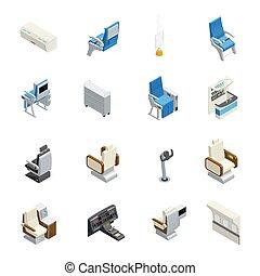 Airplane Interior Isometric Icon Set
