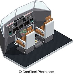 Airplane Interior Isometric Isolated Composition