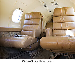 Airplane Interior - Luxury interior view of a private jet