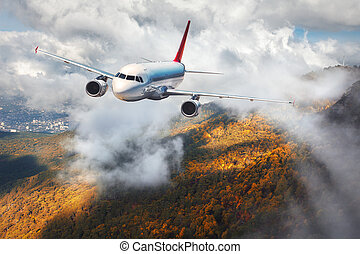 Airplane is flying in clouds over mountains with autumn forest