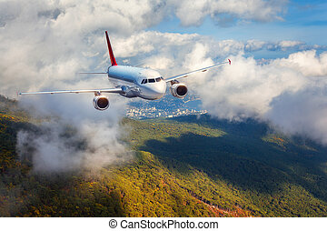 Airplane is flying in clouds over mountains with forest at sunse