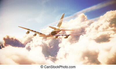 Airplane is flying over the clouds. 3d illustrtion