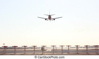 Airplane Is Landing and flying over