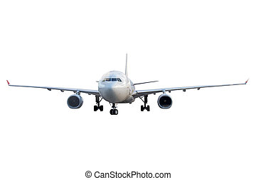 Airplane isolated, front view on white background.