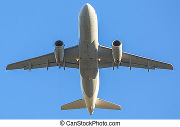 airplane isolated in the sky - passenger commercial airplane...