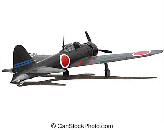 Airplane japanese Zero isolated on white with cutting-path