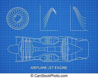 Airplane jet engine with turbine vector blueprint design