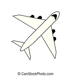 Airplane jet isolated topview black and white