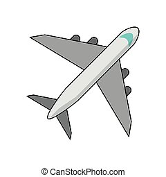 Airplane jet isolated topview